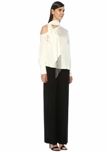 Brunello Cucinelli Brunello Cucinelli  Püsküllü Yaka Detaylı Asimetrik İpek Bluz 101427644 Beyaz